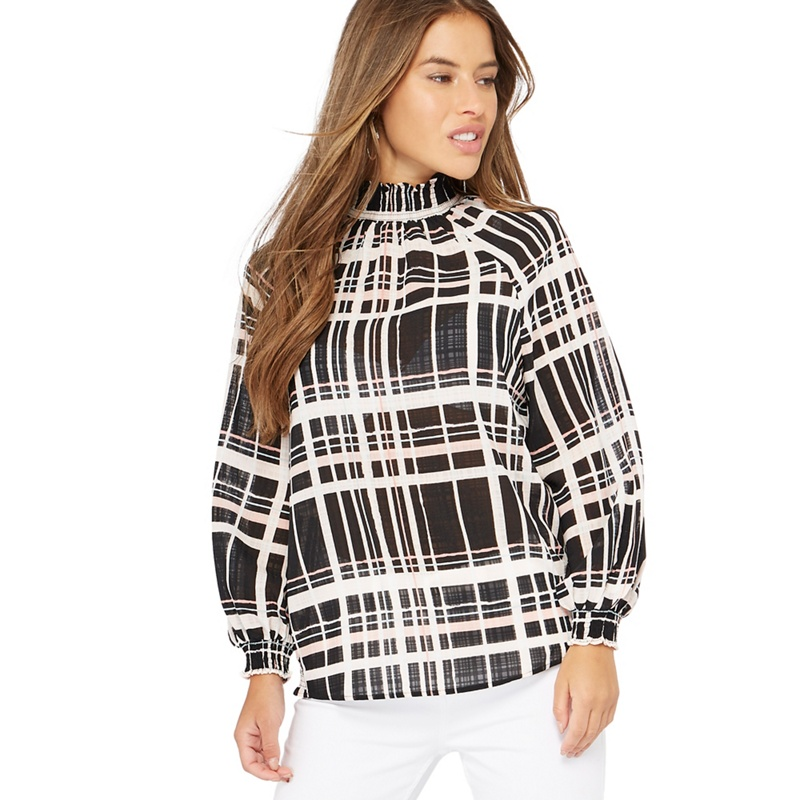 c11db2b61cb5 PRINCIPLES | Principles Petite Pale Pink Check Print High Shirred Neck  Petite Top | Goxip