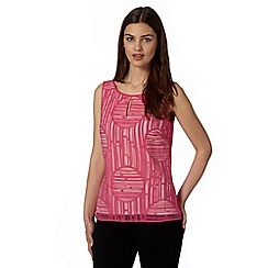 Principles Petite by Ben de Lisi - Designer bright pink striped burnout top