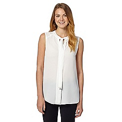 Principles Petite by Ben de Lisi - Designer ivory sleeveless tie neck petite top