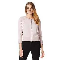 Principles Petite by Ben de Lisi - Designer rose ribbed shoulder cropped cardigan