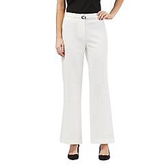 Principles Petite by Ben de Lisi - White high waist crepe petite trousers