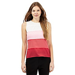 Principles Petite by Ben de Lisi - Pink star embroidered ombre mesh shell top