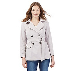 Principles Petite by Ben de Lisi - Grey short double breasted petite mac coat