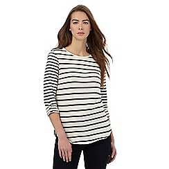 Principles Petite by Ben de Lisi - Cream striped textured petite top