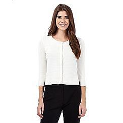 Principles Petite by Ben de Lisi - Off white striped textured petite cardigan