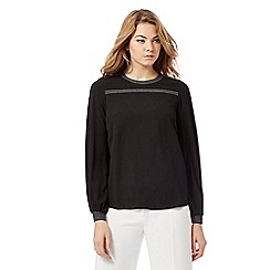 Principles Petite by Ben de Lisi - Black striped trim petite top