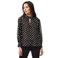 Principles by Ben de Lisi - Black foil leaf detail chiffon blouse
