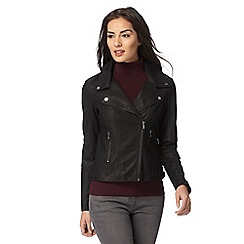 Principles Petite by Ben de Lisi - Black two pocket petite biker jacket