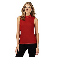 Principles Petite by Ben de Lisi - Dark orange textured roll neck petite top