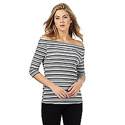 Principles Petite by Ben de Lisi - White fine striped Bardot petite top
