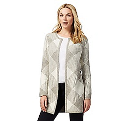 Principles Petite by Ben de Lisi - Grey diamond checked petite coatigan
