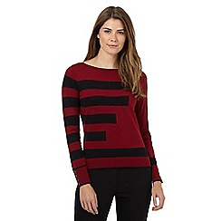 Principles Petite by Ben de Lisi - Dark red striped print petite jumper