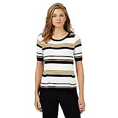 Principles Petite by Ben de Lisi - Dark yellow striped jumper