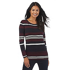 Principles Petite by Ben de Lisi - Dark red striped print zip back jumper