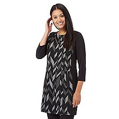 Principles by Ben de Lisi - Dark grey chevron print  tunic
