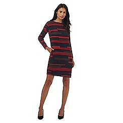 Principles Petite by Ben de Lisi - Plum block stripe shift petite dress