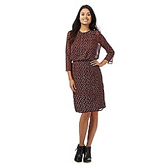Principles Petite by Ben de Lisi - Dark red printed petite dress
