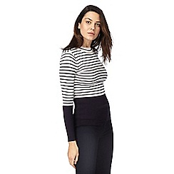 Principles Petite by Ben de Lisi - Black striped print petite jumper