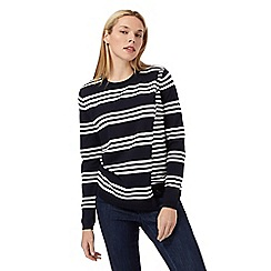 Principles Petite by Ben de Lisi - Navy striped print layered petite jumper