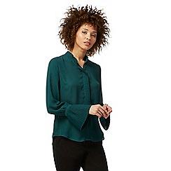 Principles Petite by Ben de Lisi - Dark green pleated petite blouse