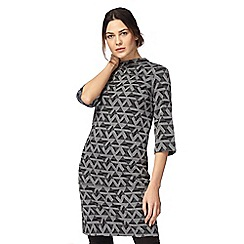 Principles Petite by Ben de Lisi - Grey geometric print tunic petite dress