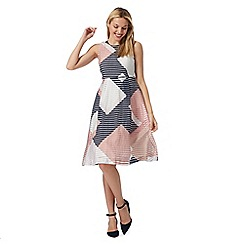 Principles Petite by Ben de Lisi - Pink striped prom petite dress