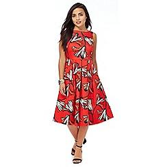 Principles Petite by Ben de Lisi - Red floral print petite dress