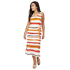 Principles Petite by Ben de Lisi - Ivory striped print petite dress