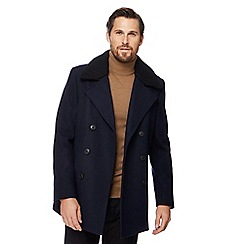 J by Jasper Conran - Big and tall navy borg collar wool-blend peacoat