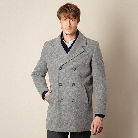 J by Jasper Conran - Big and tall designer grey wool blend double breasted coat