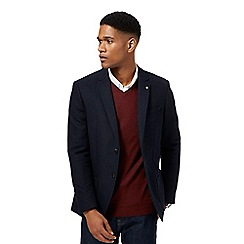 J by Jasper Conran - Big and tall navy textured single breasted wool blend jacket