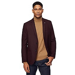 J by Jasper Conran - Big and tall wine red textured wool blend jacket