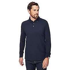 J by Jasper Conran - Navy long-sleeved polo shirt with wool