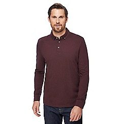 J by Jasper Conran - Big and tall dark red long-sleeved polo shirt with wool