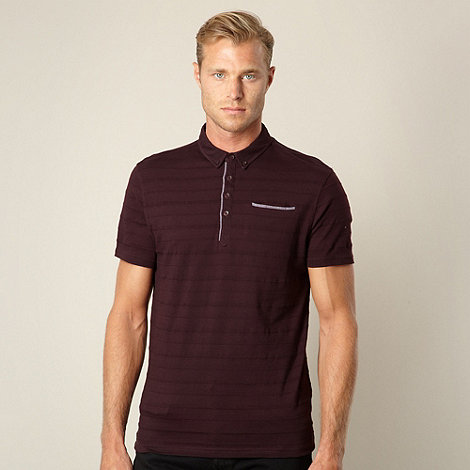 J by Jasper Conran - Big and tall designer plum textured striped polo shirt