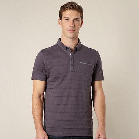 J by Jasper Conran - Designer dark grey pique striped polo shirt
