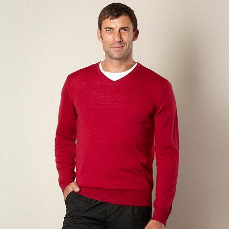 J by Jasper Conran - Designer dark pink merino V neck jumper