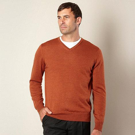 J by Jasper Conran - Big and tall designer orange merino wool v neck jumper
