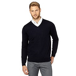 J by Jasper Conran - Big and tall designer navy v neck merino wool jumper