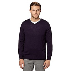 J by Jasper Conran - Big and tall designer dark purple v neck merino wool jumper
