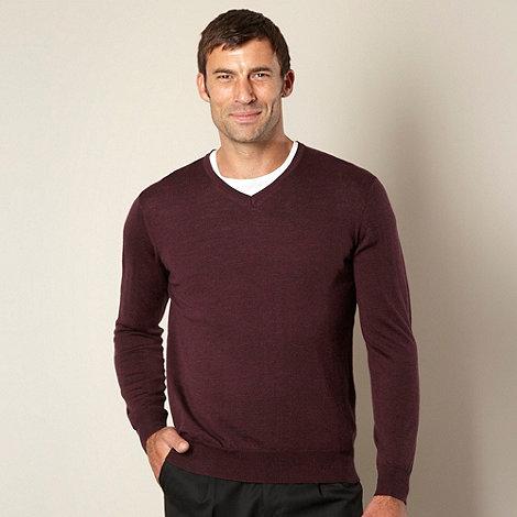 J by Jasper Conran - Designer maroon merino wool V neck jumper