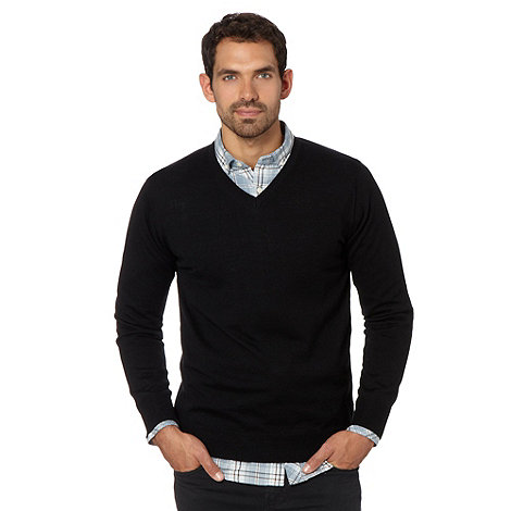 J by Jasper Conran - Big and tall designer black v neck merino wool jumper