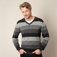 Big and tall designer grey graduated stripe knit jumper