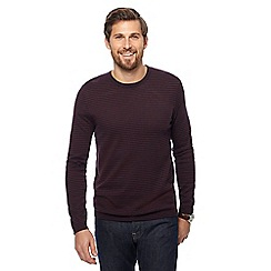 J by Jasper Conran - Maroon and navy striped merino wool blend jumper