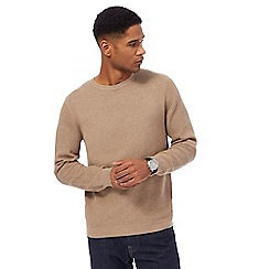 J by Jasper Conran - Big and tall camel texture crew neck jumper