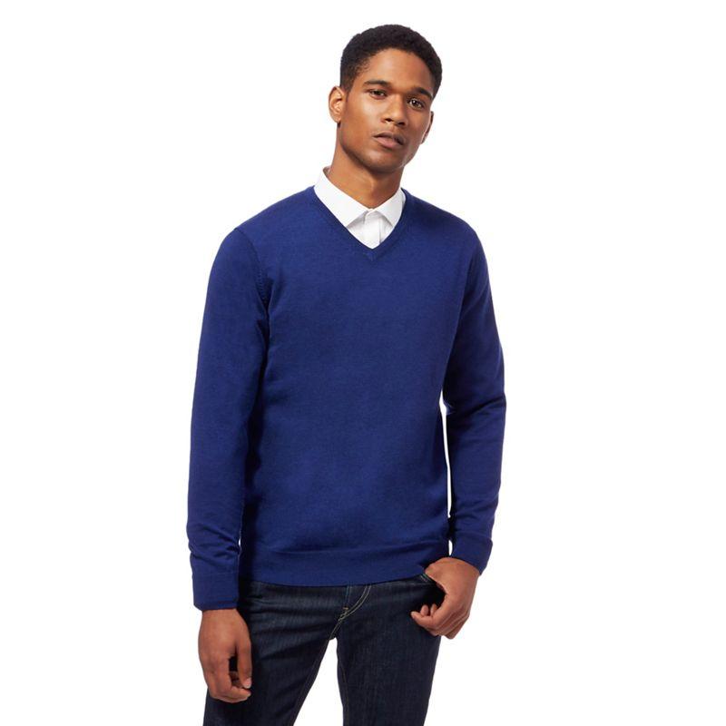 J by Jasper Conran - Blue Merino Wool V Neck Jumper