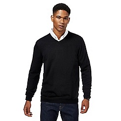 J by Jasper Conran - Big and tall black merino wool v neck jumper