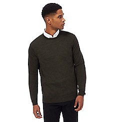 J by Jasper Conran - Big and tall dark green merino wool crew neck jumper
