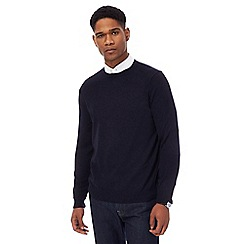 J by Jasper Conran - Big and tall navy merino wool crew neck jumper