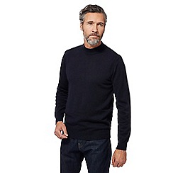 J by Jasper Conran - Big and tall navy pure merino wool turtle neck jumper